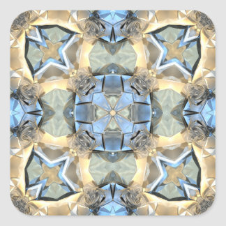 Reflections of Blue And Gold Square Sticker