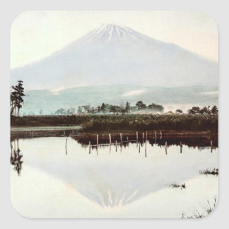 Reflections of Mt. Fuji in Old Japan Vintage Lake Square Sticker