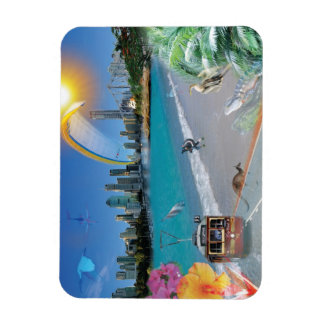 REFLECTIONS OF OZ Brisbane City Beach Rectangular Photo Magnet
