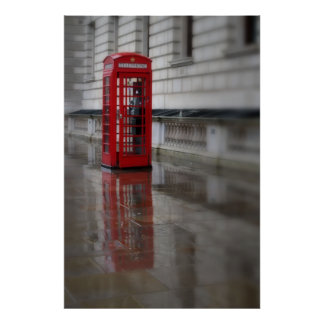 Reflections on a Red Phone Box - London Poster