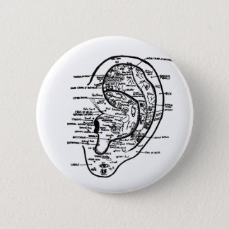Reflexology Ear 6 Cm Round Badge