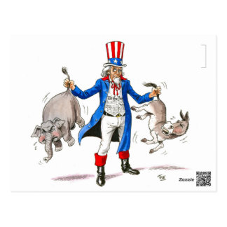 Reform Party Uncle Sam Got'em by the Tail Postcard