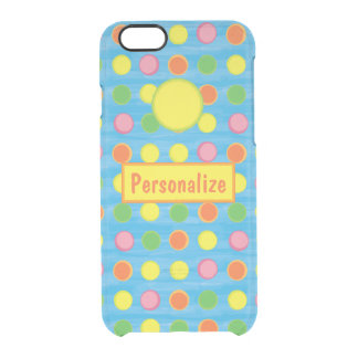 Refresh - Fruity Colorful Polka Dots on Aqua Blue Clear iPhone 6/6S Case