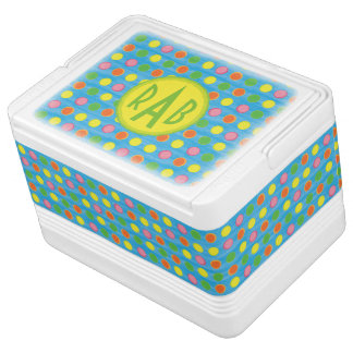 Refresh - Fruity Colorful Polka Dots on Aqua Blue Cooler