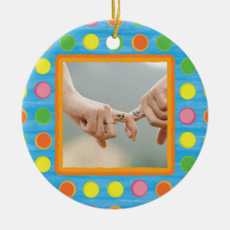 Refresh - Fruity Colorful Polka Dots on Aqua Blue Double-Sided Ceramic Round Christmas Ornament