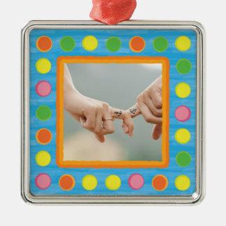 Refresh - Fruity Colorful Polka Dots on Aqua Blue Square Metal Christmas Ornament