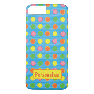 Refresh - Fruity Colorful Polka Dots on Aqua Blue iPhone 7 Plus Case