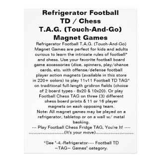 Refrigerator Football Chess TAG Magnet Game 21.5 Cm X 28 Cm Flyer