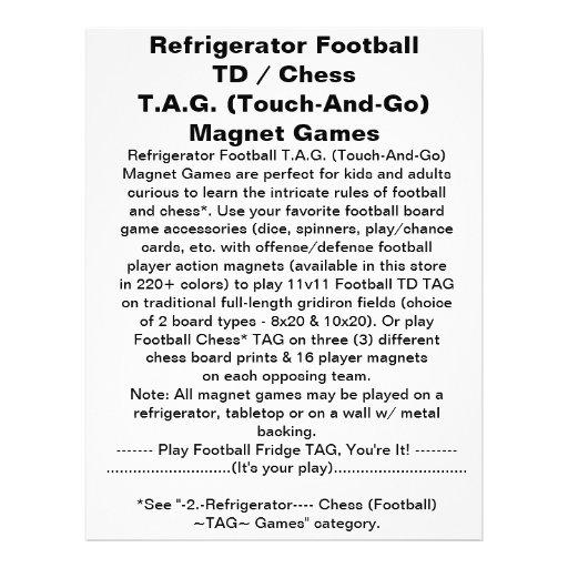 Refrigerator Football TD TAG Magnet Game Custom Flyer