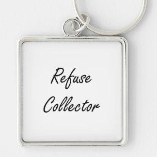 Refuse Collector Artistic Job Design Silver-Colored Square Key Ring