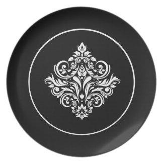 Regal Black Damask Emblem Plate