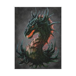 Regal Black Dragon Head - Full Colour Canvas Print