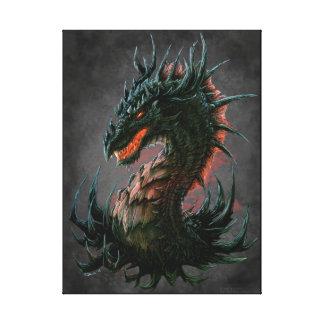Regal Black Dragon Head - Full Colour Canvas Prints