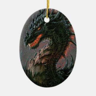 Regal Black Dragon Head - Full Colour Ceramic Oval Decoration