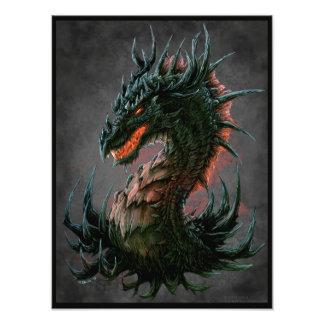 Regal Black Dragon Head - Full Colour Photograph