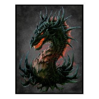 Regal Black Dragon Head - Full Colour Postcard