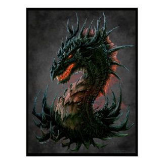 Regal Black Dragon Head - Full Colour Poster
