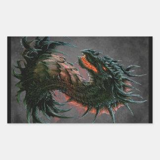 Regal Black Dragon Head - Full Colour Rectangular Sticker