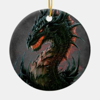 Regal Black Dragon Head - Full Colour Round Ceramic Decoration
