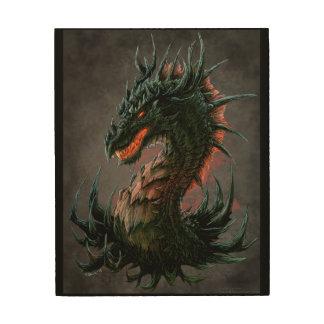 Regal Black Dragon Head - Full Colour Wood Prints