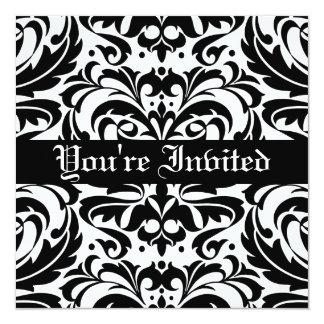 Regal Black & White Damask Scroll Invitation