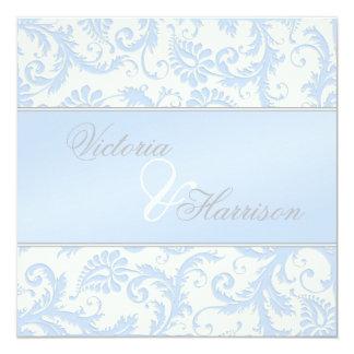Regal Blue and Ivory Damask Wedding Invitation