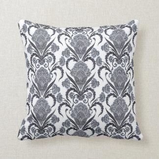 Regal Blue Floral Design Throw Pillow