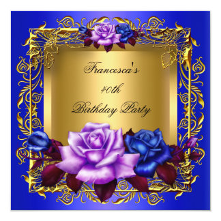 "Regal Blue Lilac Roses Gold Elegant Birthday A 5.25"" Square Invitation Card"