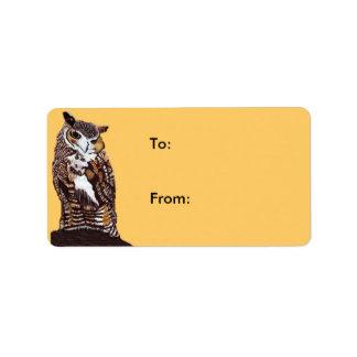 Regal Brown Owl Gift Tag Address Label