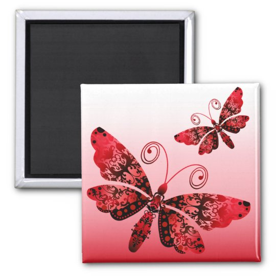 """Regal Butterfly"" (red) by Cheryl Daniels Magnet"