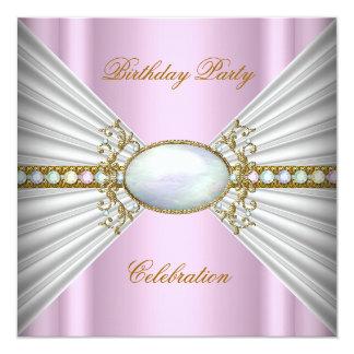 Regal Elegant Pink White Opal Gold Party 13 Cm X 13 Cm Square Invitation Card