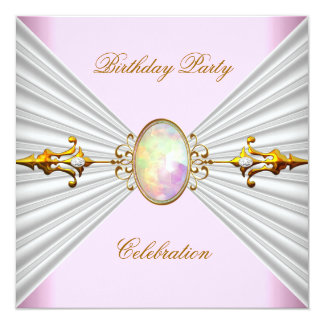 """Regal Elegant Pink White Opal Gold Party 5.25"""" Square Invitation Card"""
