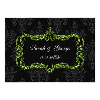 regal flourish black and green damask invites