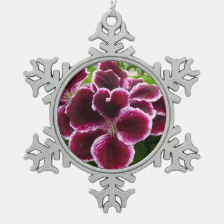 Regal Geranium Flowers Elegant Maroon Floral Snowflake Pewter Christmas Ornament