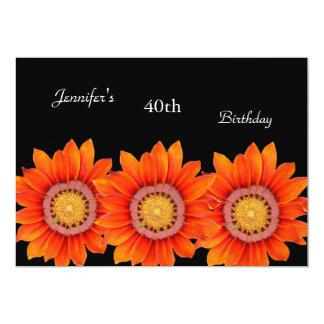 "Regal Orange Yellow Flower 40th Birthday Black 5"" X 7"" Invitation Card"