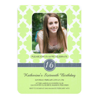 "Regal Pattern Sweet Sixteen Birthday Invites 4.5"" X 6.25"" Invitation Card"