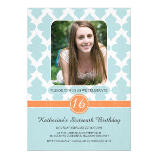 Regal Pattern Sweet Sixteen Birthday Invites