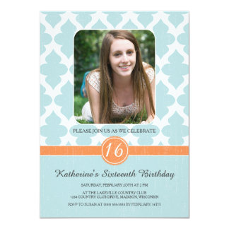 "Regal Pattern Sweet Sixteen Birthday Invites 4.5"" X 6.25"" Invitation Card"