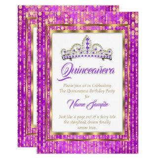 Regal Princess Purple Quinceanera Gold White Card