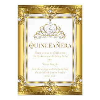 Regal Princess Quinceanera 15th Gold White Pearl 13 Cm X 18 Cm Invitation Card