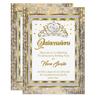 Regal Princess Quinceanera Gold White Silver Card