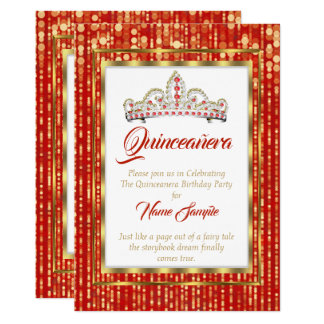 Regal Princess Red Quinceanera Gold White Card