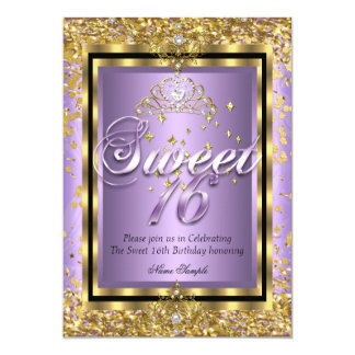 Regal Princess Sweet 16 Gold Lavender Purple Party Card