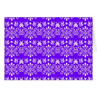 Regal Purple Floral Pattern Greeting Cards