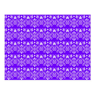 Regal Purple Floral Pattern Postcard