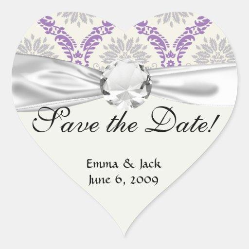 regal purple gray and cream damask design heart sticker