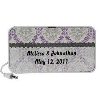 regal purple gray cream damask wedding keepsake speaker system