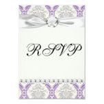 regal purple grey and cream damask design 9 cm x 13 cm invitation card