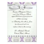 regal purple grey and cream damask design 14 cm x 19 cm invitation card