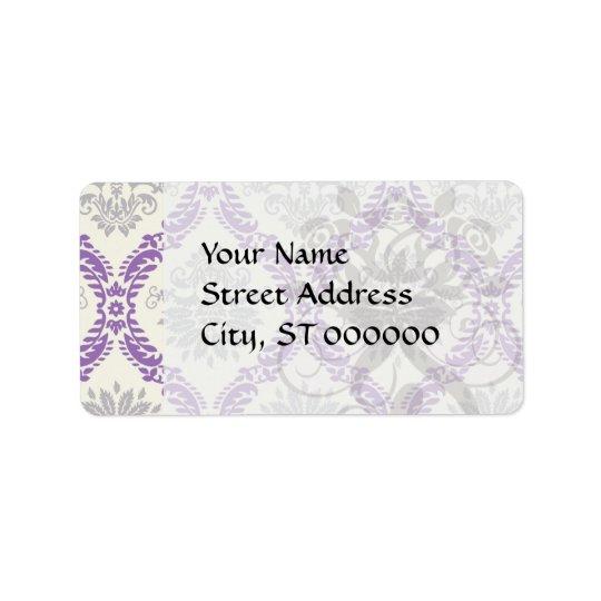 regal purple grey and cream damask design label